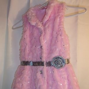 Nwot Little Lass Girl's Sz 6 Pink Fuzzy Vest